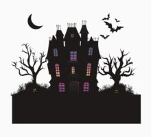 Haunted Silhouette Rainbow Mansion Kids Tee