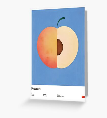 Peach (blue) - Natural History Fruits Greeting Card
