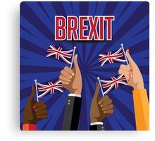 Brexit thumbs up with UK flags Canvas Print