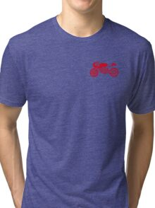Retro Cafe Racer Bike - Red Tri-blend T-Shirt