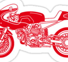 Retro Cafe Racer Bike - Red Sticker