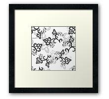 White Flower Pattern Framed Print