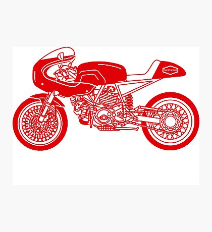 Retro Cafe Racer Bike - Red Photographic Print