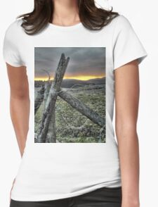 Fence At Sunset Womens Fitted T-Shirt