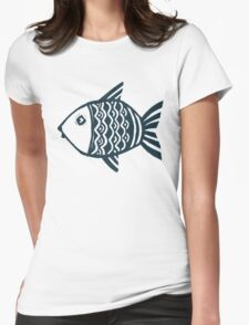 Grunge fish Womens Fitted T-Shirt