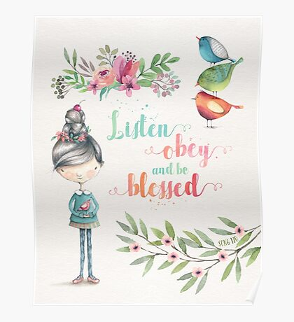Listen Obey and be Blessed Poster