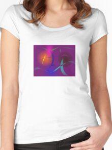 Festival Lanterns in a Purple Night Sky Women's Fitted Scoop T-Shirt