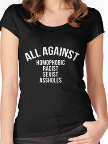 ALL AGAINST (WHITE) Women's Fitted Scoop T-Shirt