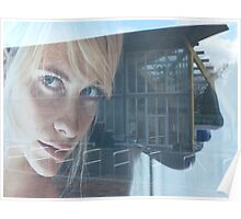 blond girl on advertisement Poster