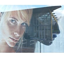 blond girl on advertisement Photographic Print
