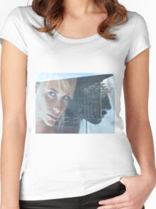 blond girl on advertisement Women's Fitted Scoop T-Shirt