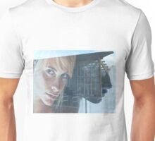 blond girl on advertisement Unisex T-Shirt