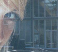 blond girl on advertisement Sticker