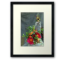 The bridal  floral arrangements on canvas bg Framed Print