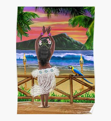 HAWAIIAN SUNSET HULA Poster
