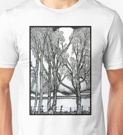 Farm Trees, Ink Drawing Unisex T-Shirt