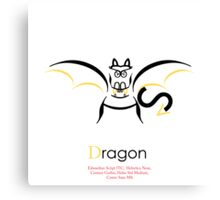 Dragon Typography Canvas Print