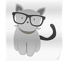 Hipster Cat with glasses Poster