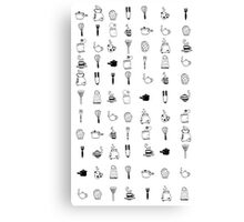 Kitchen utensil patterns Canvas Print
