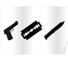 Guns, Razors, Knives (Black) Poster