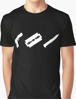 Guns, Razors, Knives (White) Graphic T-Shirt