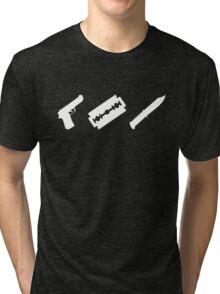 Guns, Razors, Knives (White) Tri-blend T-Shirt