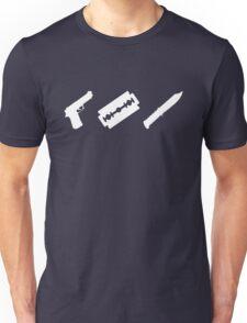 Guns, Razors, Knives (White) Unisex T-Shirt