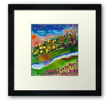 Whimsical Sunset by Roger Pickar, Goofy America Framed Print