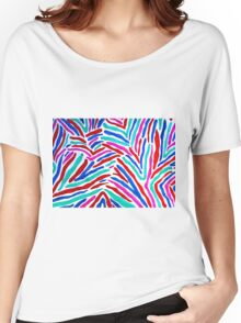 MULTICOLORED ZEBRA STRIPES Women's Relaxed Fit T-Shirt