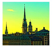 Sunset over Gamla Stan, Stockholm by Tim Constable by Tim Constable