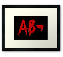 Blood Group AB- Negative #Horror Hospital Framed Print