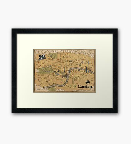 Map of London - Tolkien Inspired  Framed Print