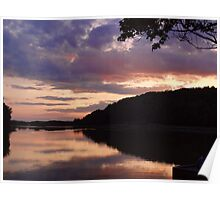 Night fall at the lake Poster