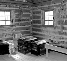 Black and White 1800s Trapper Log Cabin by Laurast