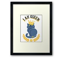Blue cat with a gold crown Framed Print