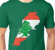 Lebanon Map With Lebanese Flag Unisex T-Shirt