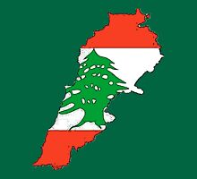 Lebanon Map With Lebanese Flag Unisex T-Shirt