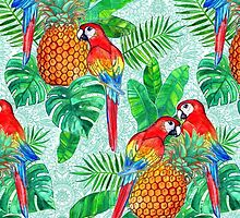 Pineapples and Parrots Tropical Summer Pattern by micklyn