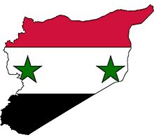 Syria Map With Syrian Flag Photographic Print