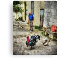 Old Man and his Turkey - Street Photography Canvas Print
