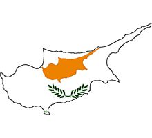 Cyprus Map With Cypriot Flag Photographic Print