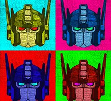 Optimus Prime - 4 Pop Art images with text by Colin Bradley