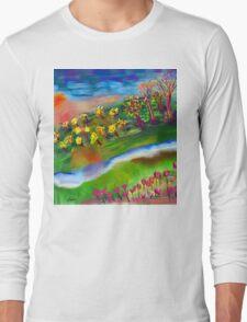 Whimsical Sunset by Roger Pickar, Goofy America Long Sleeve T-Shirt