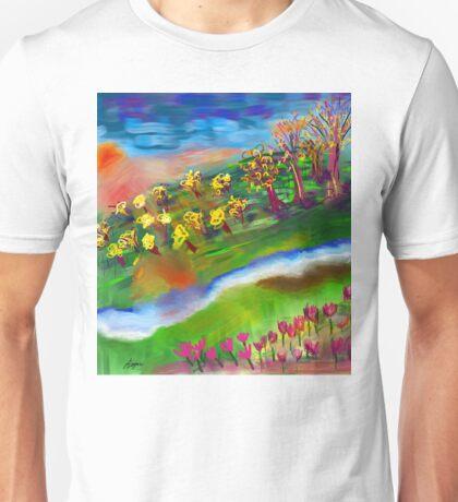 Whimsical Sunset by Roger Pickar, Goofy America Unisex T-Shirt