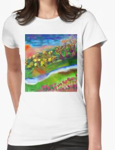 Whimsical Sunset by Roger Pickar, Goofy America Womens Fitted T-Shirt