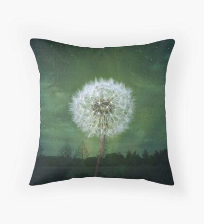 Dandelion Flower Fluff Starry Sky Art Throw Pillow