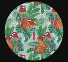 Pineapples and Parrots Tropical Summer Pattern Baby Tee