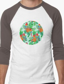 Pineapples and Parrots Tropical Summer Pattern Men's Baseball ¾ T-Shirt