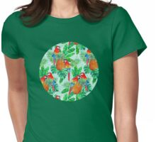 Pineapples and Parrots Tropical Summer Pattern Womens Fitted T-Shirt