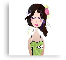 Fashion Vintage Girl in Green Dress Illustration Art ( Luxury Green Edition ) Canvas Print